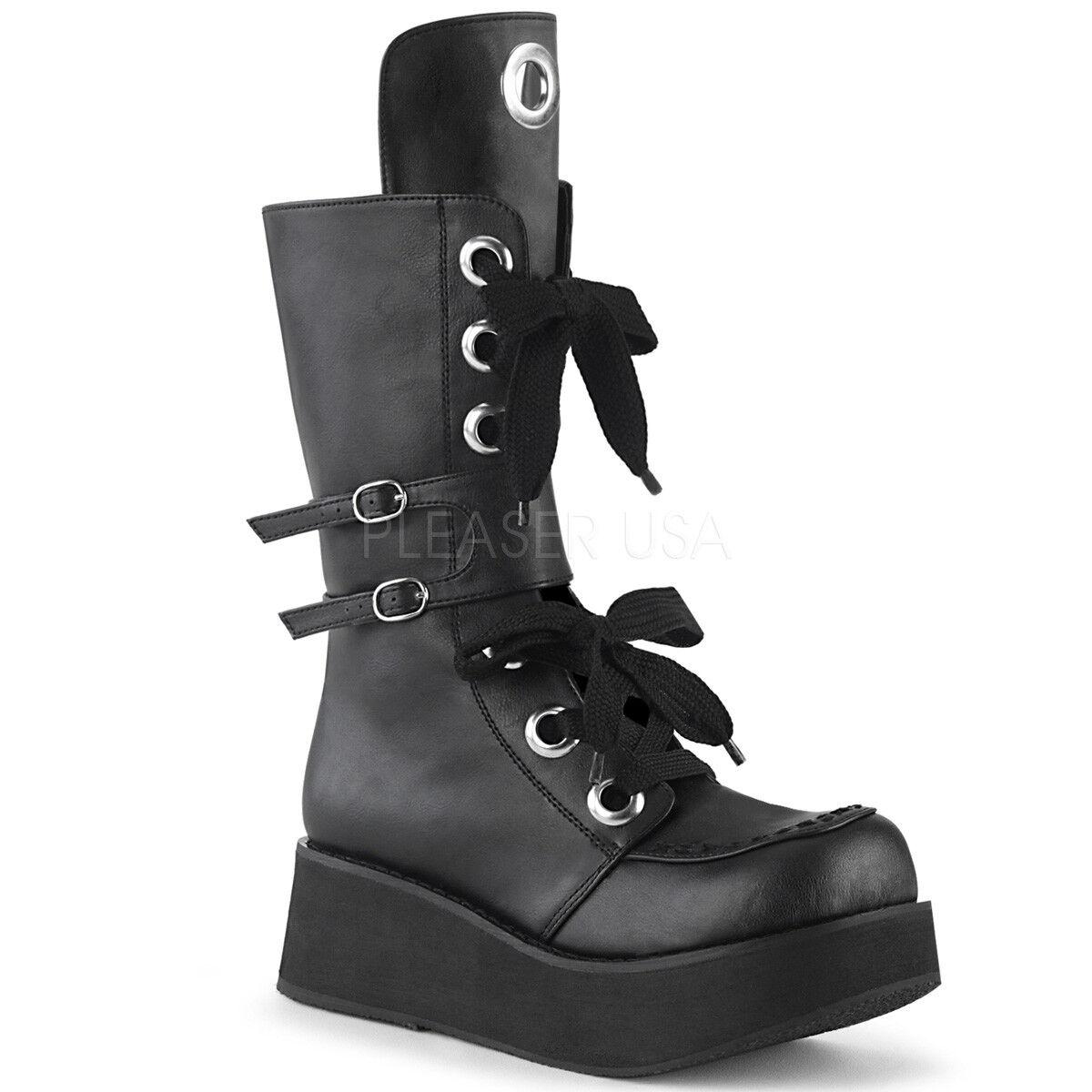 Demonia 210 Sprite - 210 Demonia Para Mujer De Plataforma De Cuero Negro Vegano con cordones a la mitad de la Pantorrilla botas 8f0ff2