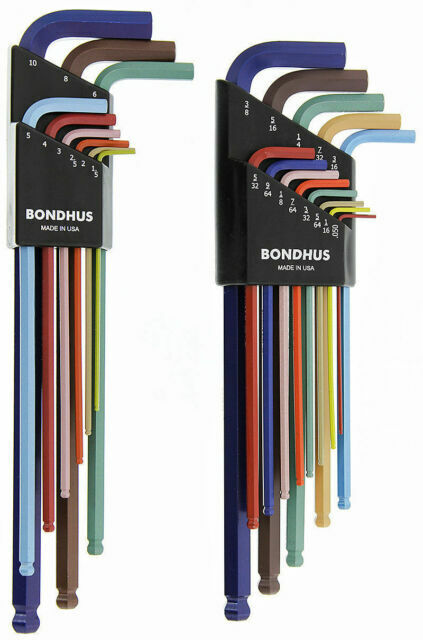 Bondhus ColorGuard Ball End Hex L Wrench Set Metric SAE Standard Inch USA 69600
