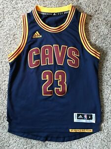 new style 32cd8 983d8 Details about Cleveland Cavs Lebron James Jersey Adidas Jersey Navy Blue  Authentic Youth Sz M