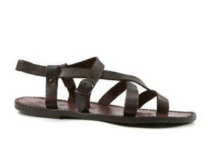 331d9e5f8d80 HANDMADE MEN S STRAPPY SANDALS IN DARK BROWN LEATHER MAN MADE IN ...