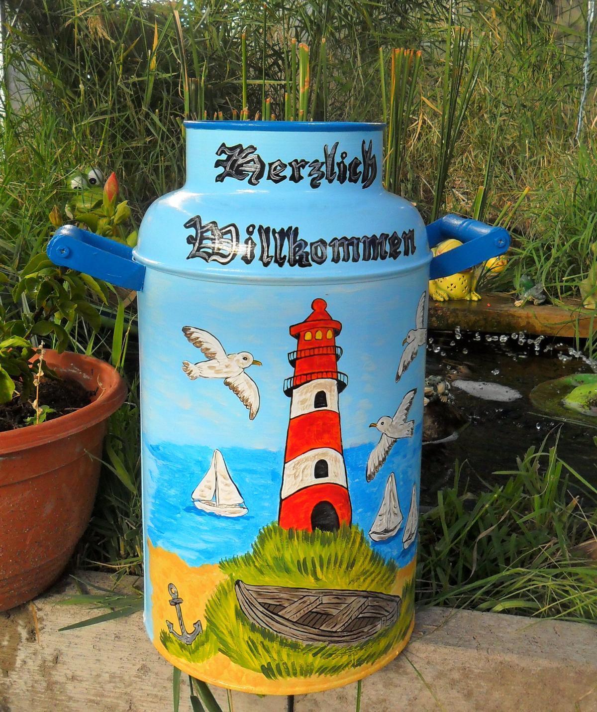 Milchkanne,10-LBodenvase-handbemalt-Leuchtturm-Möwen-maritim-blau-Rentier Schnee | | | Große Auswahl  ad6a4c