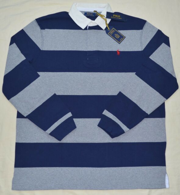 5c58c3a2cf2 New Large L POLO RALPH LAUREN Mens Iconic Rugby Shirt Classic Fit Gray Navy