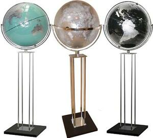 Image Is Loading Giant World Globe Floor Stand Silver Black Teal