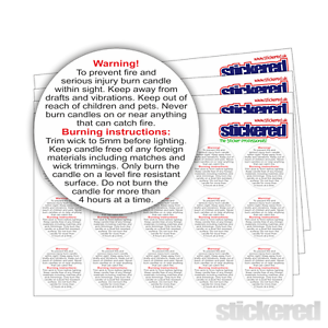 Candle Making WarningSafety Labels stickers Sow Wax Melts Various Qty 1043