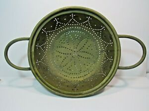 Antique-Primitive-Punched-Brass-Double-Handle-Colander-Strainer-Extra-Large