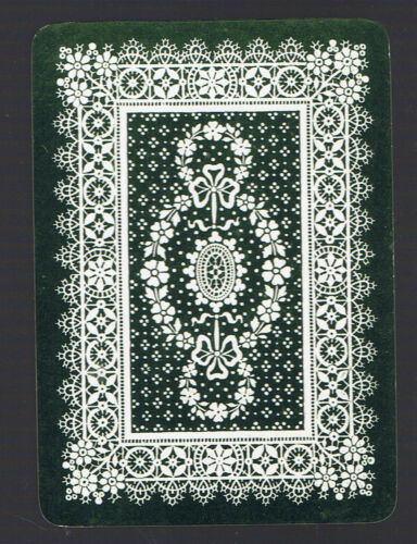 Swap Playing Cards  1  VINT   ANTIQUE  ALL OVER  LACE  DESIGN  GREEN  95EW