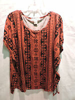 Womens Seventh Avenue Rust Color And Black Sleveless Poncho Top Size Medium