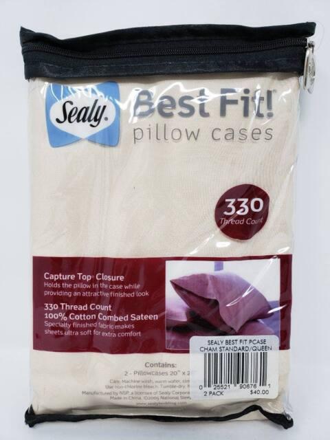 Sealy Best Fit Pillow Cases 330 Tc Chamomile Std Queen Capture Top 100 Cotton