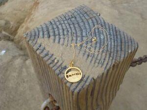 "Gold Surf Shack Tiki Hut Pendant Necklace 18/"" California Windansea Beach"