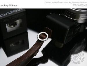 GARIZ-Leather-Wrist-Finger-Strap-Dark-Brown-XS-WFSN3-M43-Sony-NEX-Lumis-Olympus