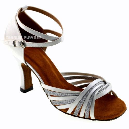TPS White Satin /& Silver Latin Ballroom Salsa Custom-made Dance Shoes D976