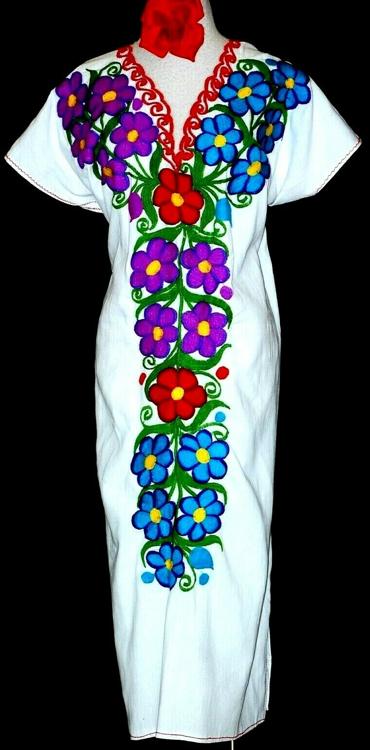 5 de Mayo Mexican Maxi Dress huipil Weiß Tunic Floral Embroidery Oaxaca Plus