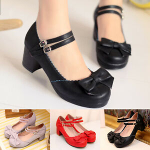 Women-Lolita-Shoes-Block-Mid-Heel-Bow-Double-Buckle-Mary-Jane-Pumps-Ankle-Strap