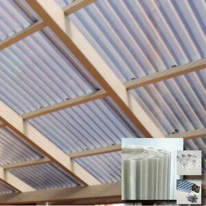 Dachplatten-6x2-m-Licht-Wellplatte-GFK-Polyester-Dachbahn-Carport-amp-Terrasse