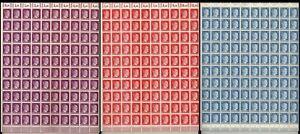 Lot-Stamp-Germany-3-Sheet-1941-WWII-3rd-Reich-Fascism-Adolf-Hitler-MNH-MNG