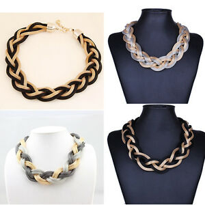 New-Necklace-Jewelry-Choker-Necklace-Trendy-Chunky-Chain-Statement-Necklace-Rr