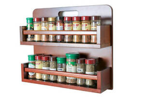 Spice-Rack-Wooden-Open-Top-2-Tiers-Timber-Bar-36-Herb-and-Spice-Jars