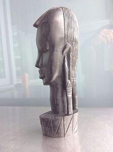 African Tribal Figurine Head Genuine Besmo Product Kenya Wooden Sculpture