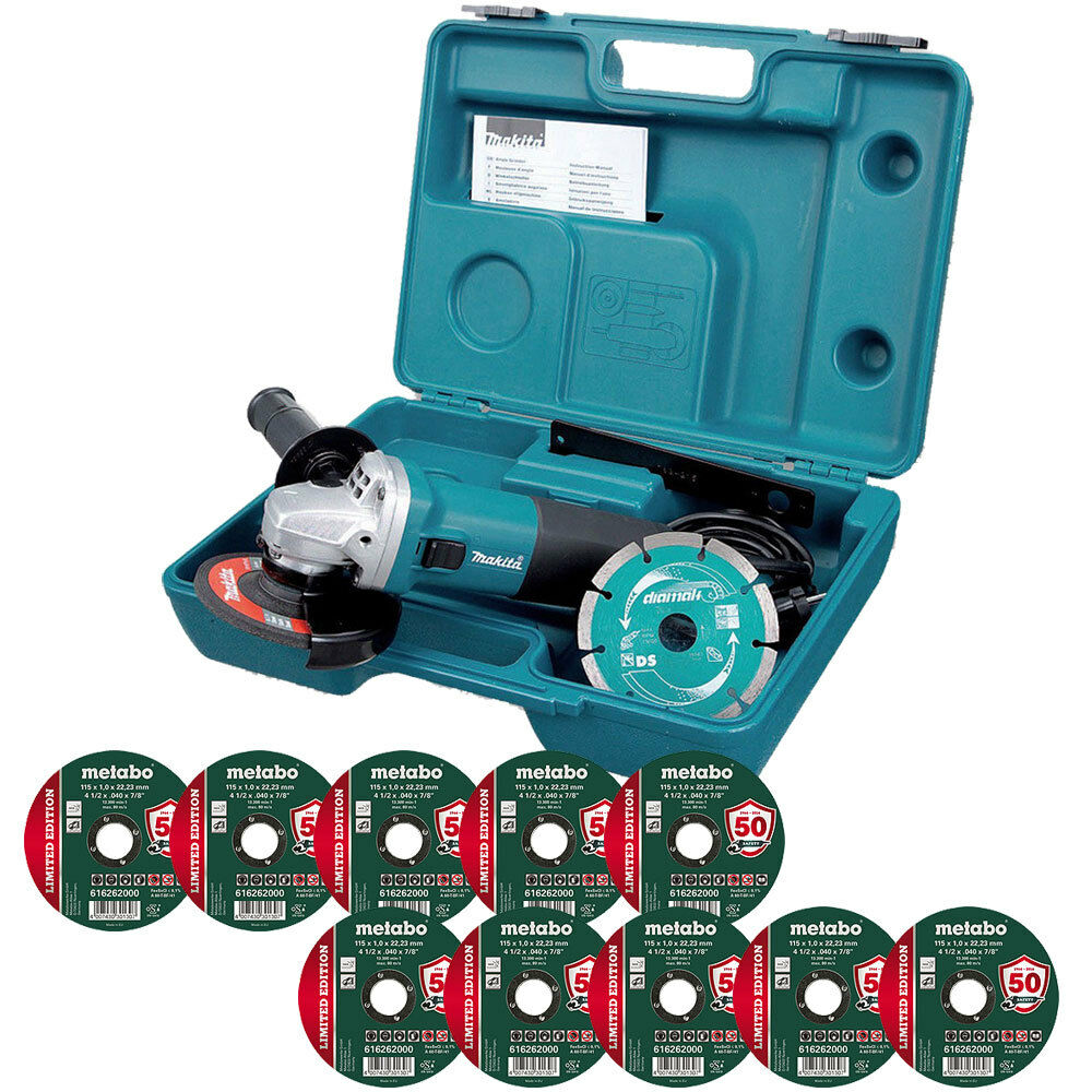 Makita GA4530RKD 240V 4.5  Angle Grinder Case With 10 x 115mm Metal Cutting Disc