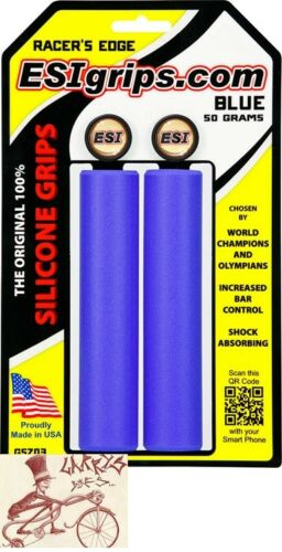 ESI RACERS EDGE SILICONE 30MM BLUE BICYCLE GRIPS