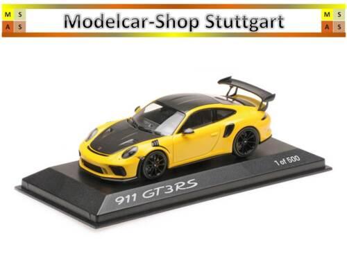 Porsche 911 gt3 RS con Weissach-paquete racinggelb Minichamps 1:43 wax02020085