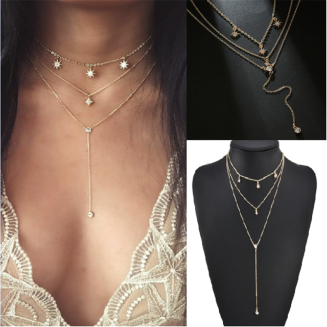 Gold Punk Four Layers Trendy Women Clavicle Choker Star Crystal Necklace Chain