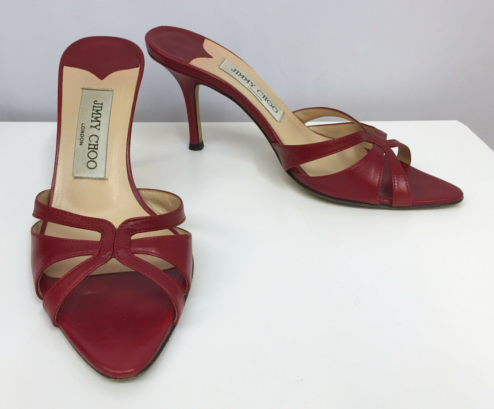 JIMMY CHOO SANDALS SHOES RED WINE LEATHER VERY 36 SEXY EXCELLENT CONDITION SIZE 36 VERY 37026f