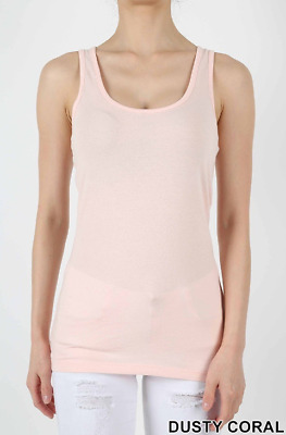 NEW Hanes 2X Silver Cotton Fine Ribbed Jersey Scoop Neck  Tank Top  Coral