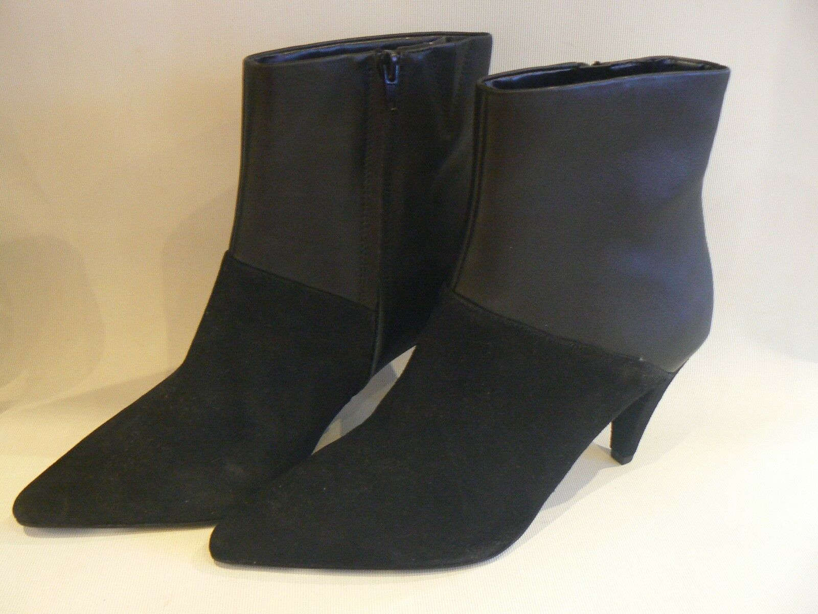M&S Marks Spencer Black Suede & Leather Ankle Boots Insolia Size 7.5 NEW LABELS