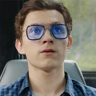 Gift Spider Man Edith Glasses Tony Stark Sunglasses Retro Square Silver Frame Light Gray Lens With Inner Blue Coating For Men Women