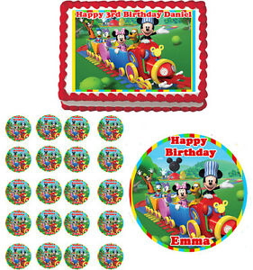 Mickey Mouse Clubhouse Edible Cake Images : MICKEY MOUSE Train Clubhouse Edible Cake Topper Cupcake ...