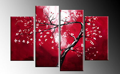 RED CANVAS FLORAL BLOSSOM TREE PICTURE 4 PANEL SPLIT WALL ART PICTURE MULTI  40""