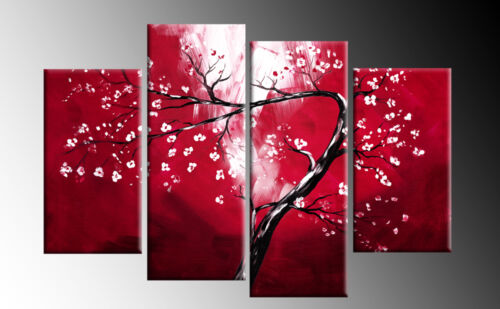 """RED CANVAS FLORAL BLOSSOM TREE PICTURE 4 PANEL SPLIT WALL ART PICTURE MULTI  40/"""""""