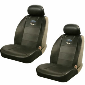 Image Is Loading 2PC Ford Mustang Pony Synthetic Leather Sideless Seat