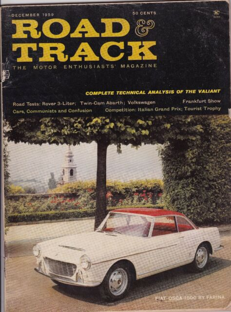 Road & Track Magazine December Dec 1959 See My Store