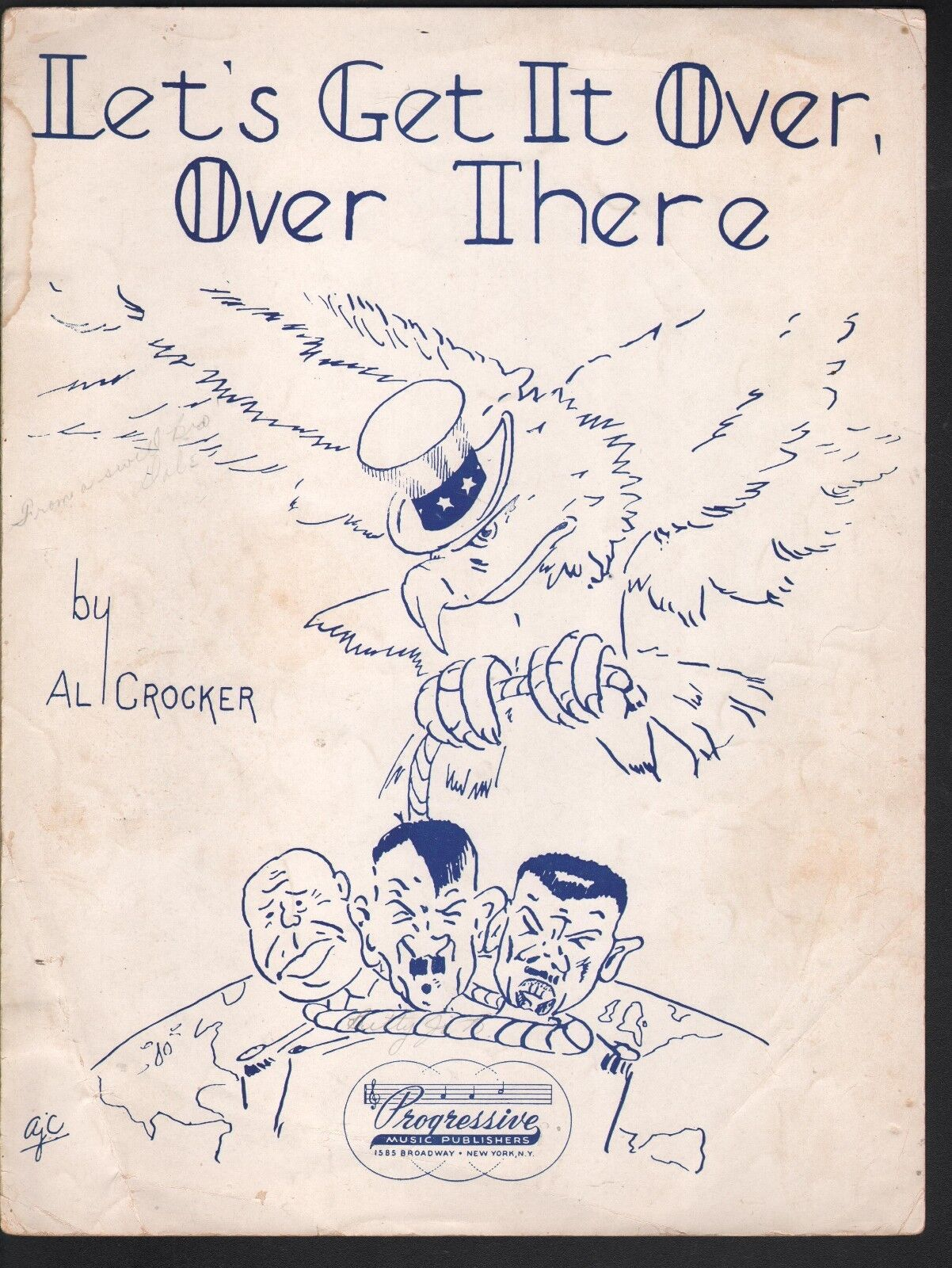 Let's Get It Over Over There 1942 WWII Hitler Sheet Music