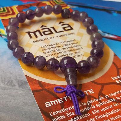 Top qualité Bracelet Mala Améthyste perles 8 mm