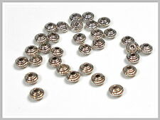 25 kleine Metallperlen 5*3mm bicone antik silber