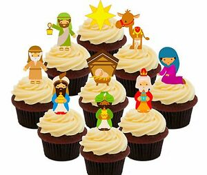 Christmas Cupcake Toppers.Details About Nativity Scene Christmas Cupcake Toppers 36 Christian Fairy Cake Bun Decorations