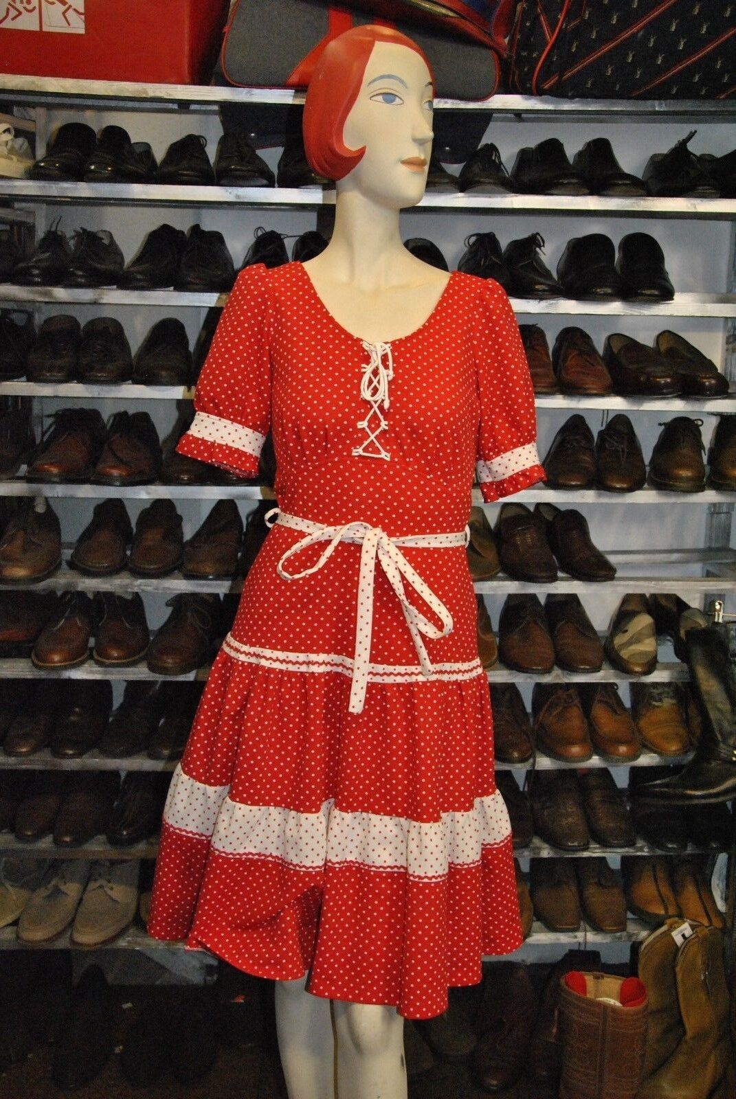 Diolen Kleid 36 rot polka dot gepunktet S TRUE VINTAGE 70s rot dress