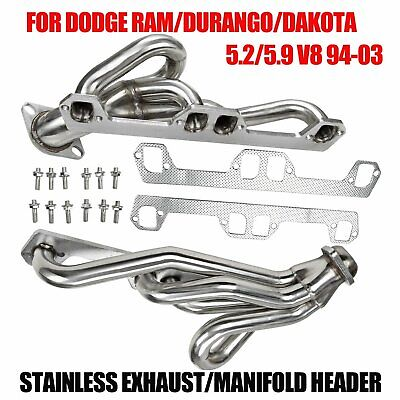 STAINLESS MANIFOLD HEADERS FIT 94 03 DODGE RAM DURANGO DAKOTA 5.2 5.9 V8 EXHAUST