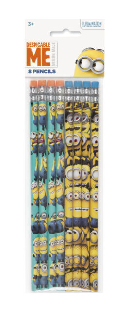 DESPICABLE ME 2 PENCILS (8) ~ Birthday Party Supplies Favors Stationery Minions