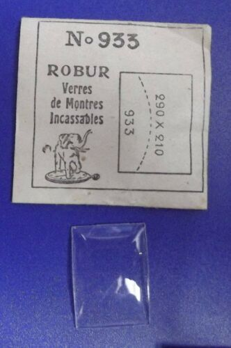 neuf Verre de montre minéral Robur rectangle cintré N°933-29 X 21 X 1 mm