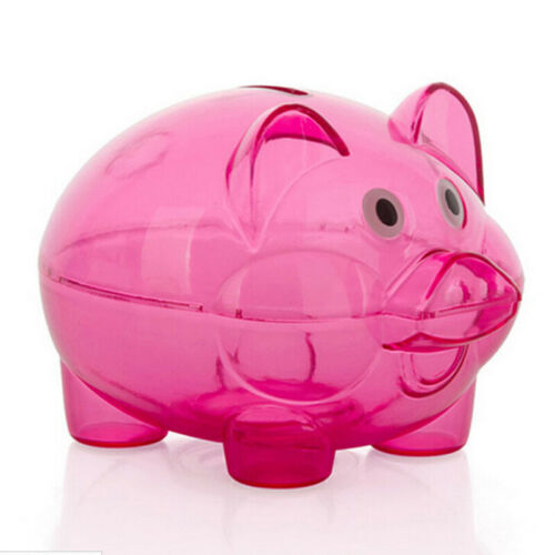 1pcs Clear PIGGY Bank Coin Money Plastic Cash Openable Saving Box Kid Gift toy