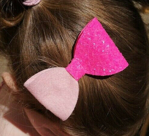 "Pink Neon Glitter Hair Bow//Clip For Girls Bright Pink /& Felt 3/"" Medium"