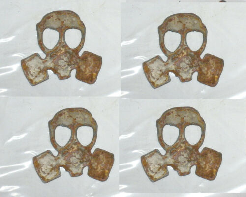 """Lot of 4 Gas Mask Shapes 3/"""" Rusty Metal Vintage Steampunk Ornament Craft Sign"""