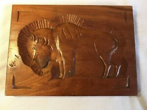Folk-Art-Hand-Carved-Buffalo-Plaque-Hardwood-Signed-By-Artist-1983-Rustic-Prim