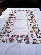 Vintage fine hand embroidered tablecloth-farm & people figures-56x84-vibrant
