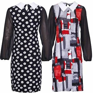 New Ladies Floral Graphic Print Chiffon Sleeve Dresses & Tops 14-28