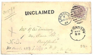 MM178 1884 GB Transatlantic Mail *UNCLAIMED* Buffalo NY USA {samwells-covers}PTS